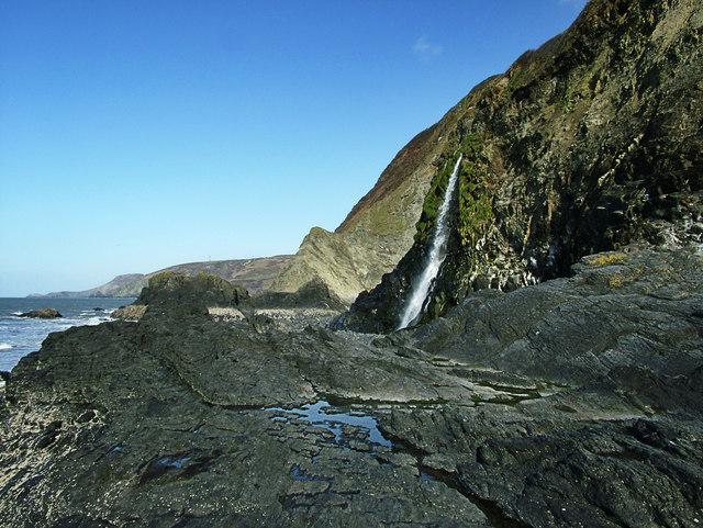 Waterfall on Tresaith Beach
