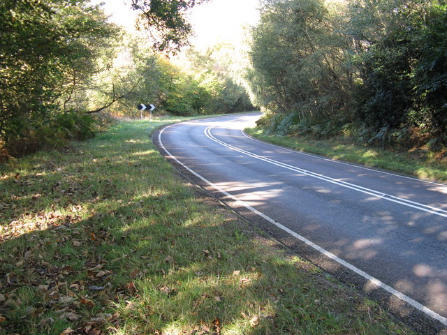 A 22 descending the hill towards Forest Row