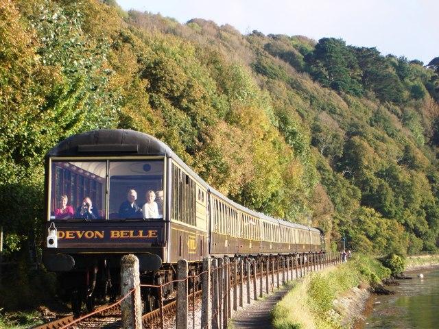 Devon Belle Steam Train approaching Kingswear Station