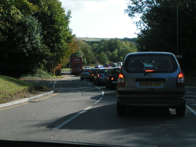 Traffic leaving University of Sussex, approaching the A27 at Falmer