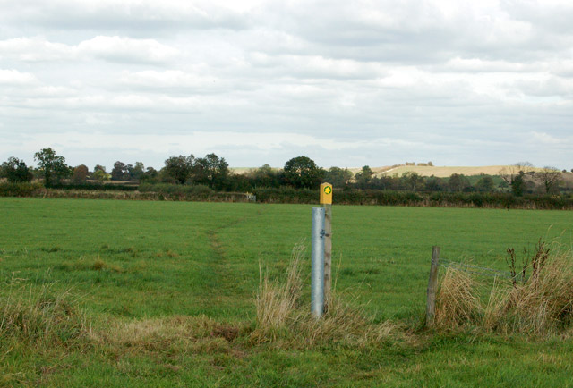 Isolated waymark on a footpath north of Priors Marston