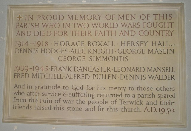 War memorial within St Peter, Terwick