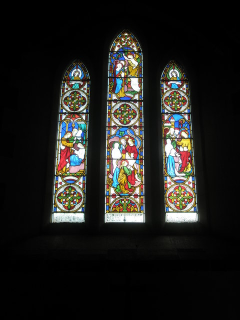 Stained glass window above the altar at St Peter, Terwick