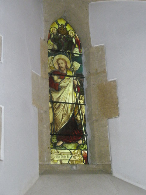 Delightful stained glass window within St Peter, Terwick