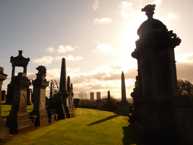 Glasgow: gravestones (and two towerblocks)