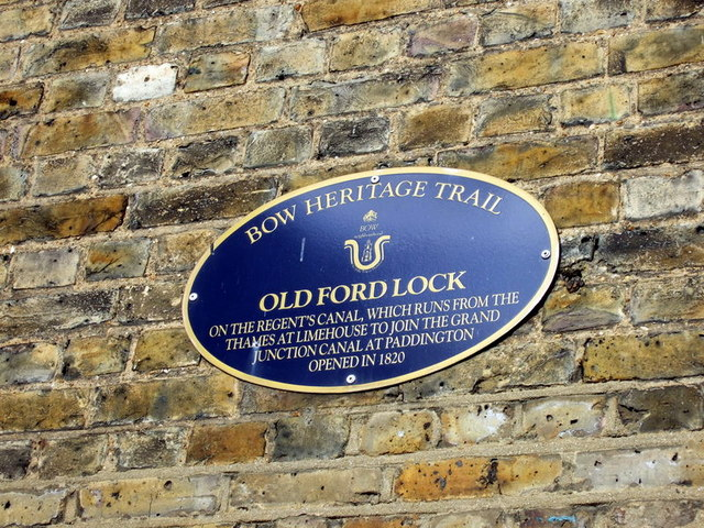 Bow heritage trail sign at Old Ford Lock