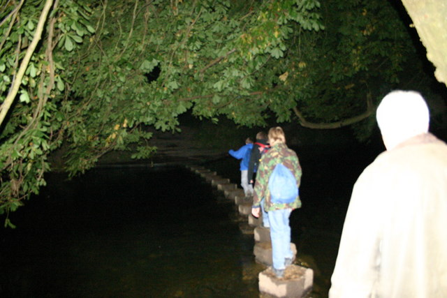 Night time crossing of Box Hill Stepping Stones
