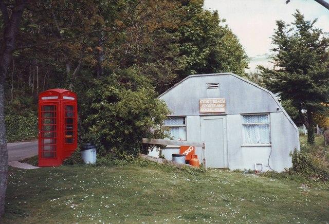 Stoke Beach Social Club and telephone box, Devon