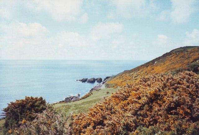 Coastal scenery west of Stoke Beach, Devon