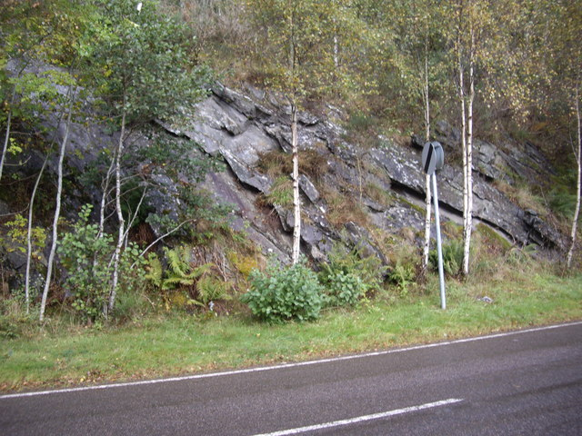 Rock outcrop on the north bank of the River Cannich