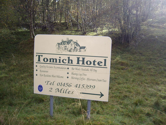 Two miles to Tomich Hotel