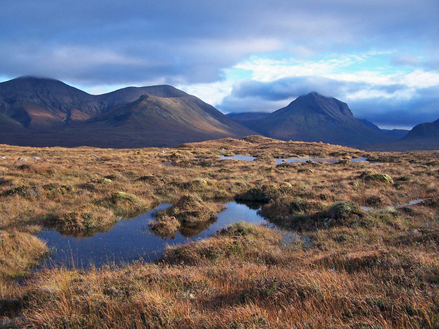 Boggy moorland with a Cuillin backdrop