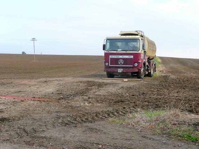 Tanker in a field