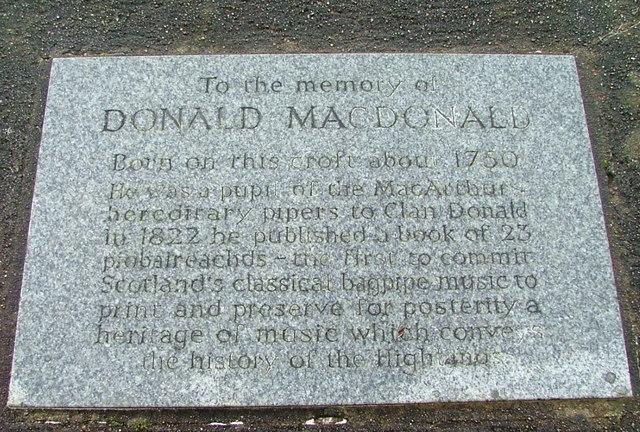 Detail of memorial to Donald Macdonald
