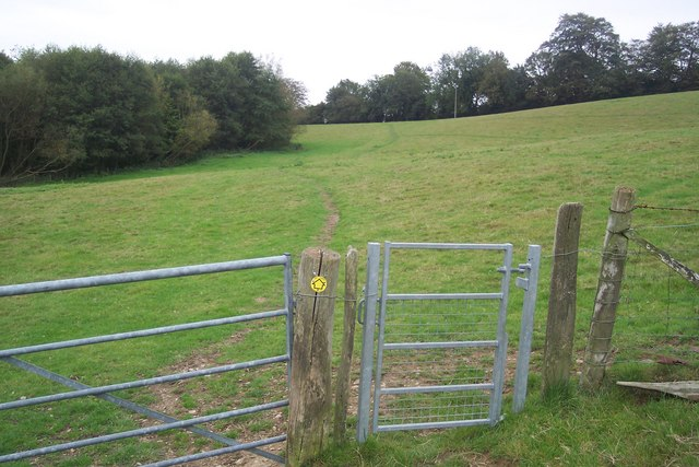 Footpath and gate towards Toy's Hill