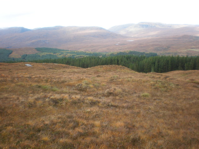 View across Beinneun Forest to Ceannacroc Forest and Clunie hills