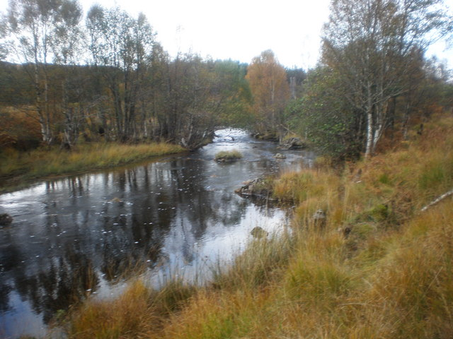 River Loyne by bridge on A87 in Autumn