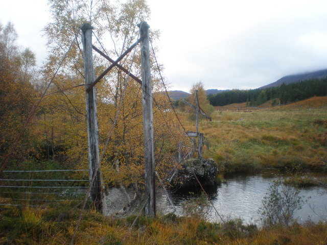 Remains of cable footbridge over River Loyne