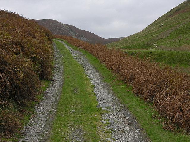 Track climbing by the Nant Braich-y-Rhiw