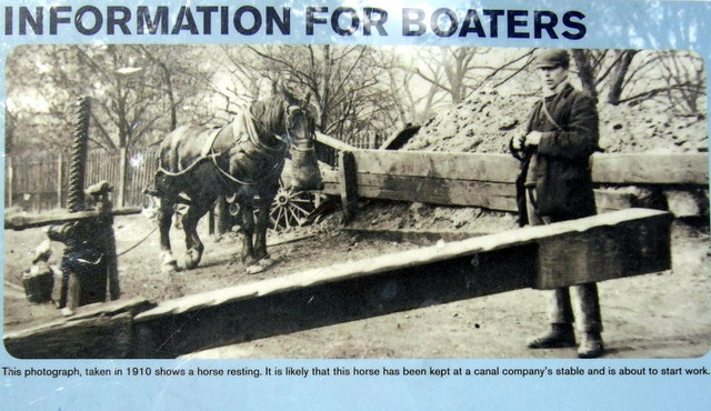 Information board: a canal horse 100 years ago