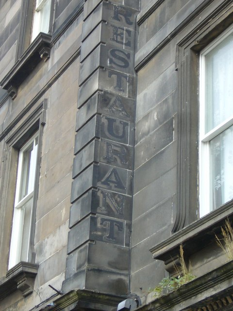 Faded restaurant sign, Queen Charlotte Street