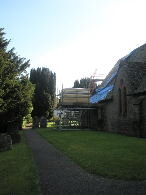 Scaffolding on the north side of St Bartholomew, Rogate