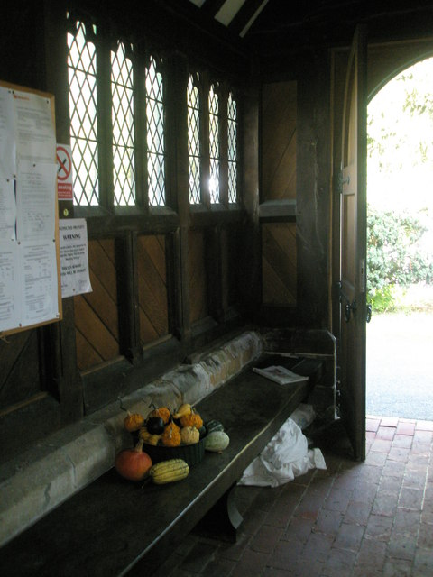 Seat in the church porch at St Bartholomew, Rogate
