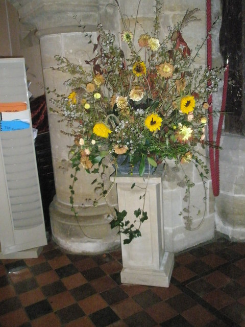Floral display within St Bartholomew, Rogate
