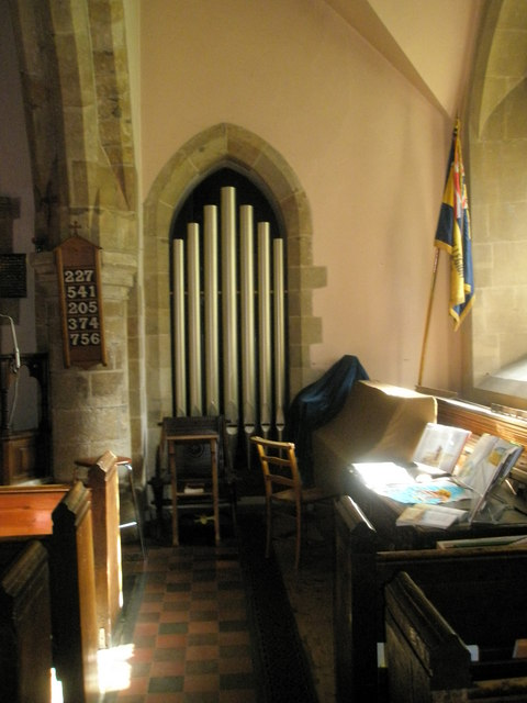 Organ pipes within St Bartholomew, Rogate