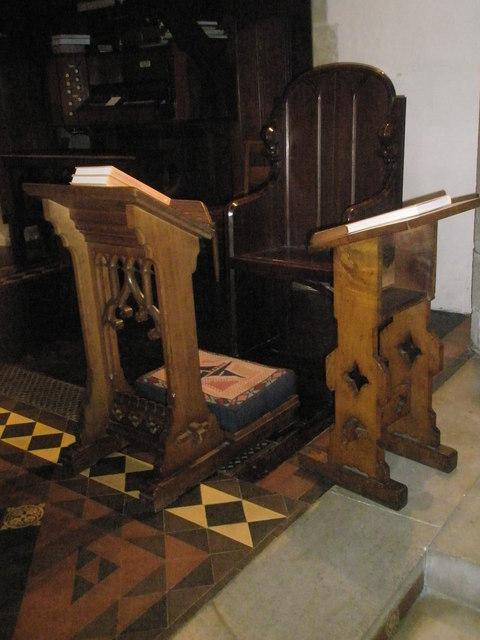 The incumbent's chair at St Bartholomew, Rogate