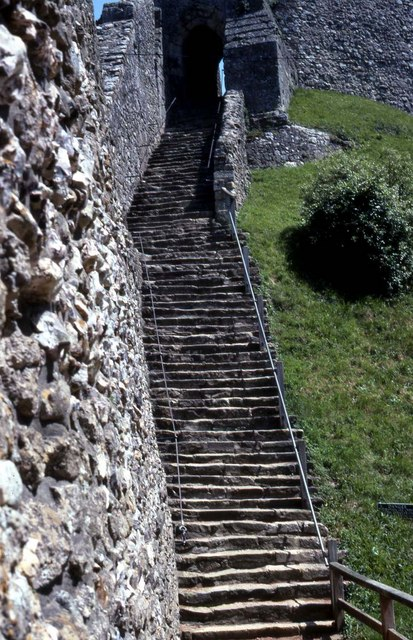 Steps up to the keep at Carisbrooke Castle