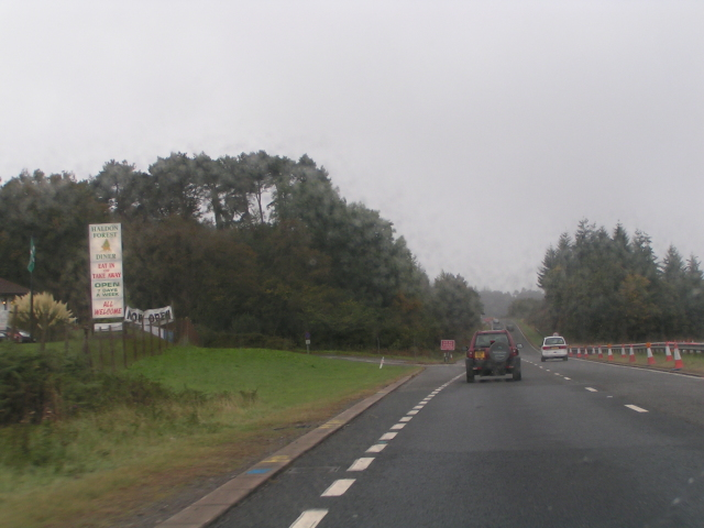 Turning off A38 at Exeter racecourse