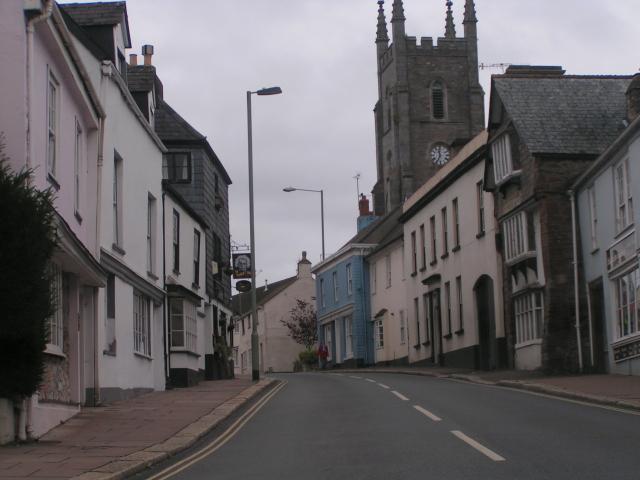 The Albert Inn and the church, Bridgetown