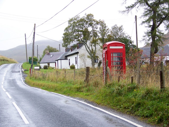 Telephone box near the Spittal of Glenshee