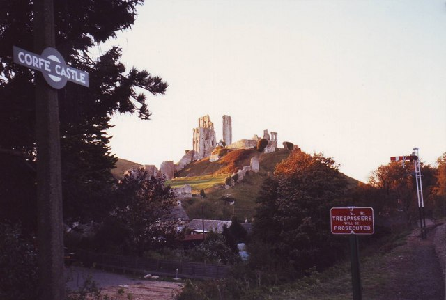 Corfe Castle from the preserved railway station.