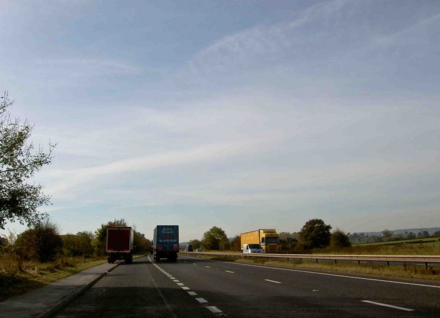 Dual carriageway (A38) lay-by heading south towards Derby