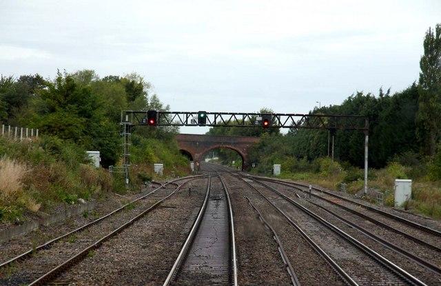 Signal gantry at Steventon