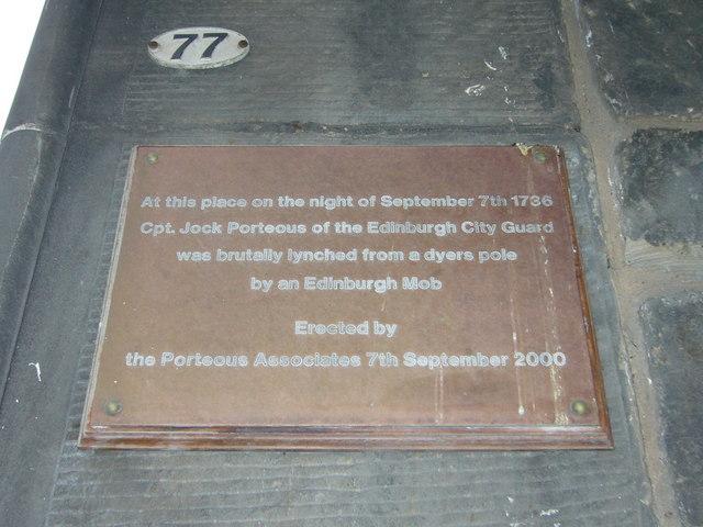 Porteous plaque, Grassmarket