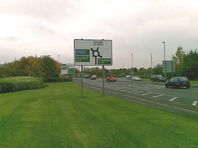 Road-sign for traffic on the B5358 at Cheadle Royal