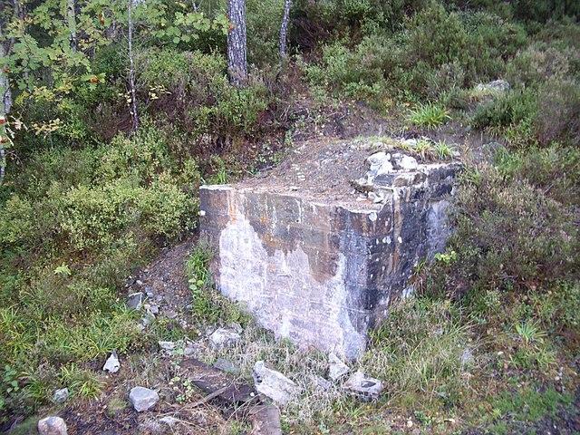 Ruined pediment of the former bridge over Plodda Falls
