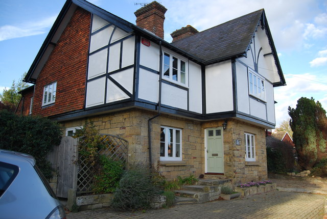Half timbered, half stone built cottage, Leigh
