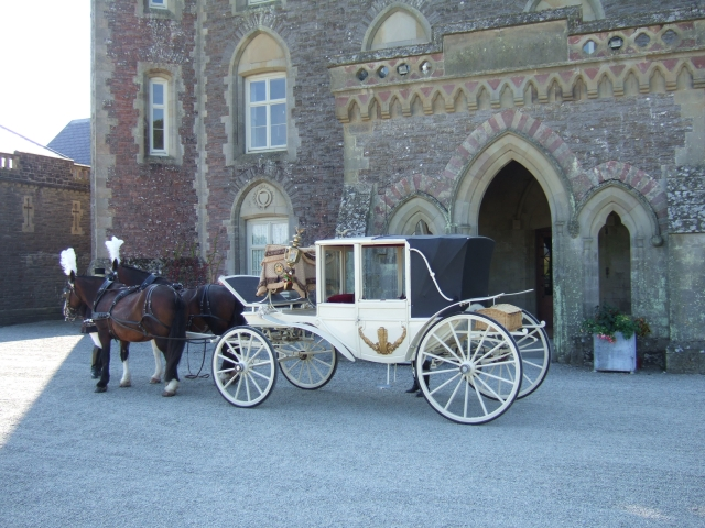 Carriage awaiting bride and groom after a wedding at Newton House, Dinefwr