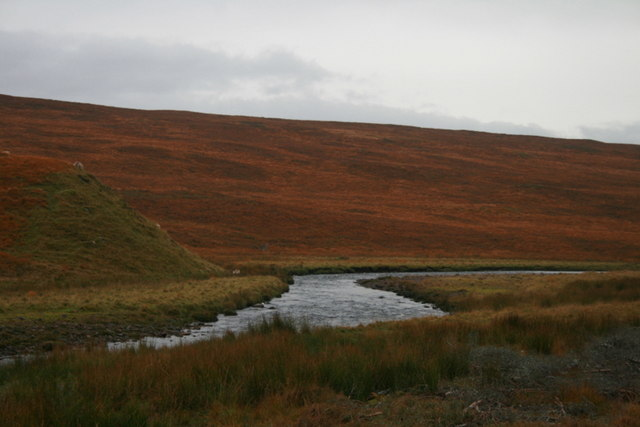 Upstream view of the Tirry as she flows down the Strath