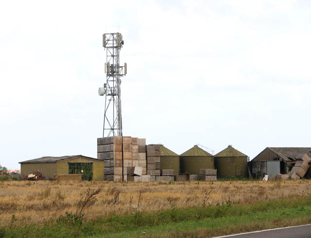 Silos and sheds at Burton's Farm