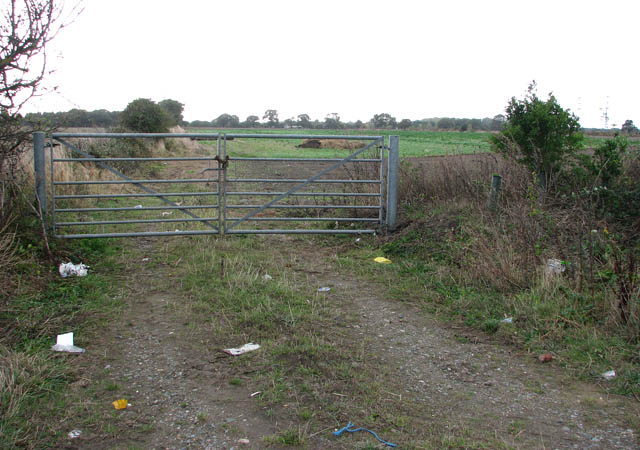 Gate into a field south of Beccles Road (A143)
