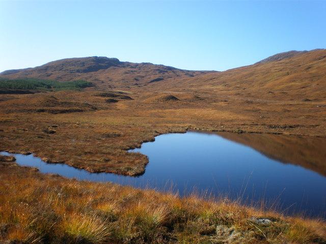 Lochan on Bunloinn moorland near Allt Coire na Creadha