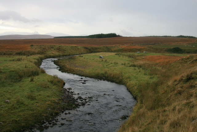 An upstream view of the meandering Tirry by Crask
