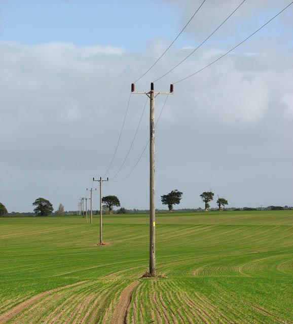 Power line across fields