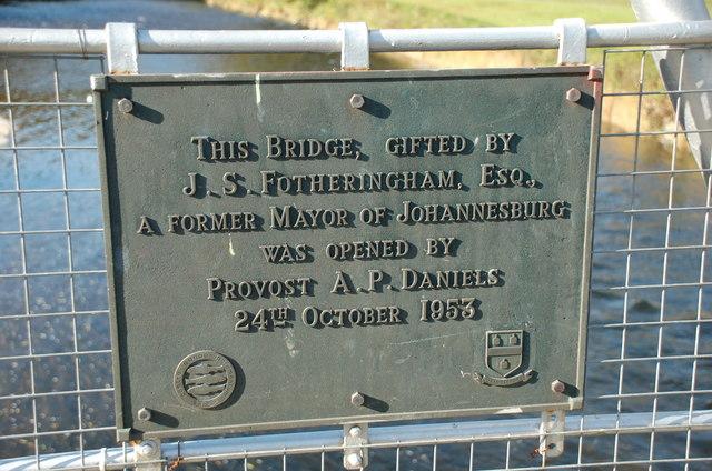 Plaque on Fotheringham Bridge, Peebles