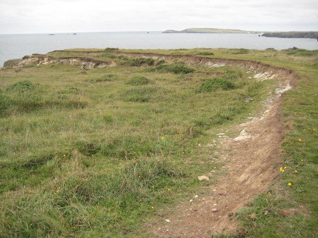 Coast erosion near Porth Mear
